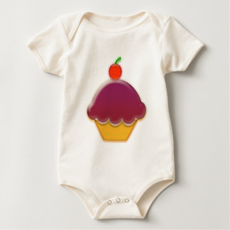 Raspberry and Cherry Cupcake Art Baby Bodysuit