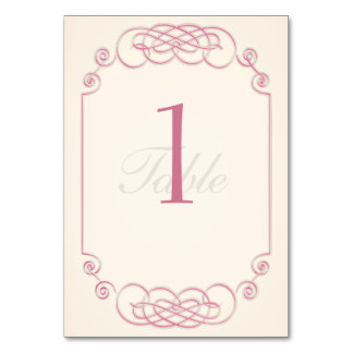 Raspberry and Cream Filigree Table Number Card