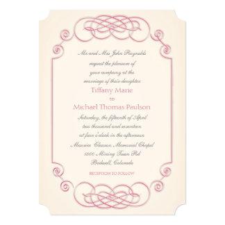 Raspberry and Cream Filigree Wedding Invitation