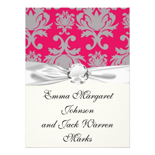 Raspberry and grey damask personalized announcements