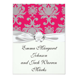 Raspberry and grey damask 17 cm x 22 cm invitation card