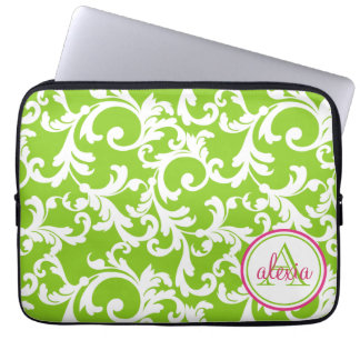 Raspberry and Lime Monogrammed Damask Print Laptop Computer Sleeve