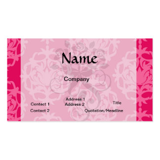 Raspberry and pink damask business card