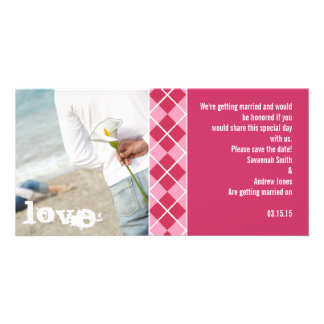 Raspberry Argyle and Pink Save the Date Modern Inv Personalized Photo Card