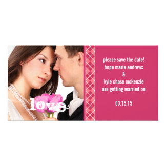 Raspberry Argyle Save The Date Engagement Photo Photo Cards