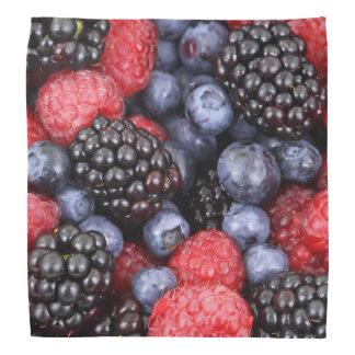 Raspberry, blueberry and blackberry berry pattern bandana