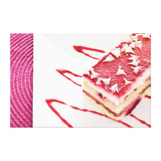 Raspberry Cake Dessert Gallery Wrapped Canvas