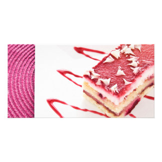 Raspberry Cake Dessert Photo Greeting Card