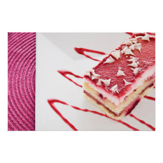 Raspberry Cake Dessert Poster