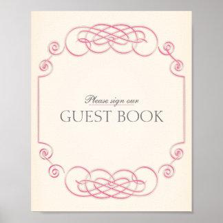 Raspberry & Cream Filigree Guest Book Poster