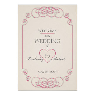Raspberry & Cream Filigree Wedding Greeting Poster