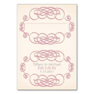 Raspberry & Cream Filigree Wedding Place Cards