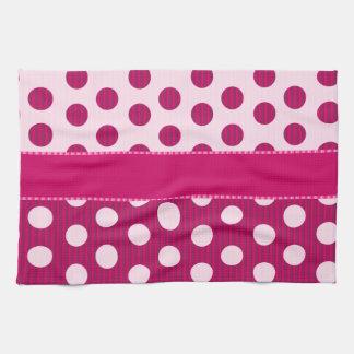 Raspberry Dots Tea Towel