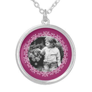 Raspberry Fancy Frame Custom Photo Silver Plated Necklace