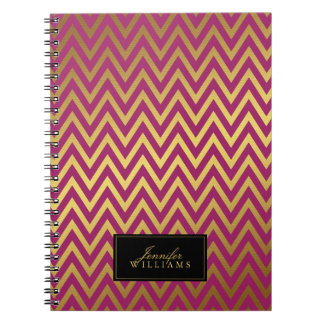 Raspberry & Faux Gold Foil Chevron Stripes Notebook
