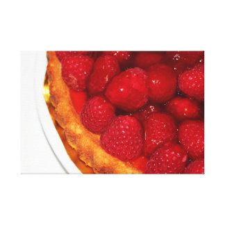 Raspberry flan dessert canvas print