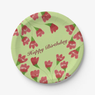 Raspberry Flowered Paper Plates