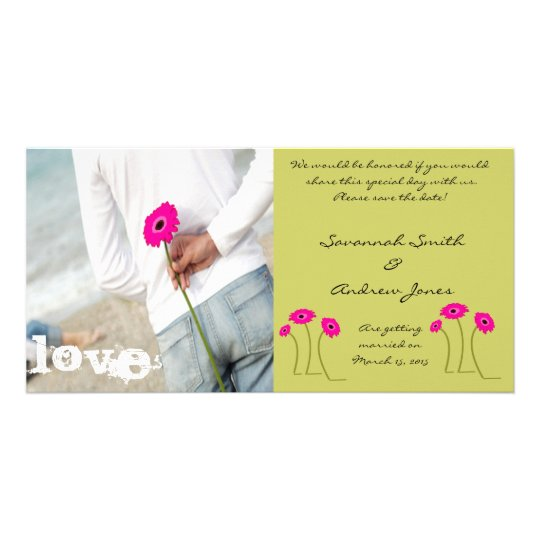 Raspberry Gerbers on Lime Save The Date Personalised Photo Card