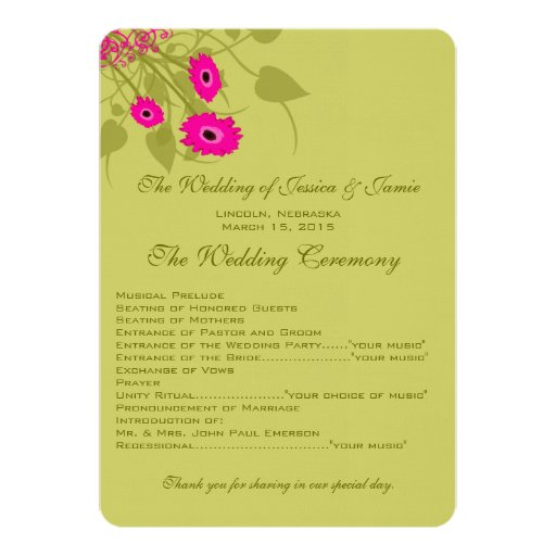 Raspberry Gerbers Wedding Program 13 Cm X 18 Cm Invitation Card