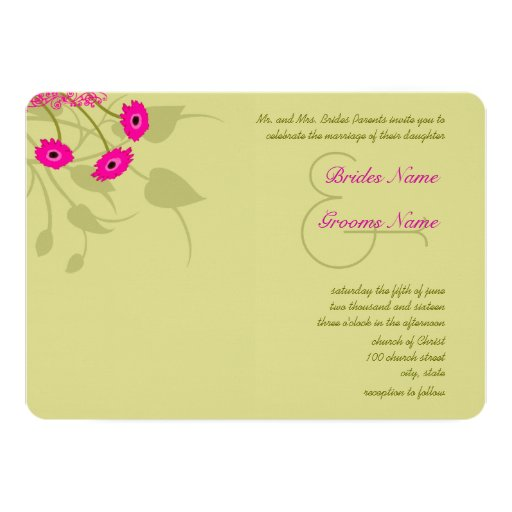 Raspberry Lime Gerbers Wedding Invitations