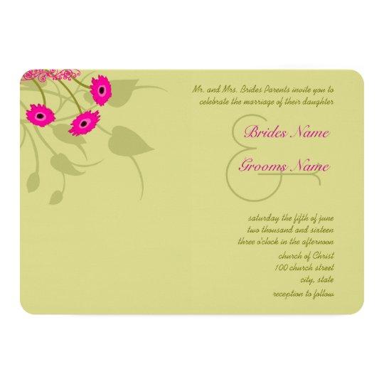 Raspberry Lime Gerbers Wedding Invitations