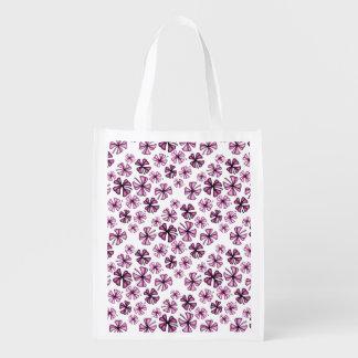 Raspberry Lucky Shamrock Clover Reusable Grocery Bag