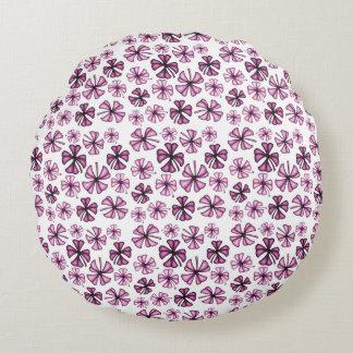 Raspberry Lucky Shamrock Clover Round Cushion