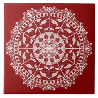Raspberry Mandala Ceramic Tile
