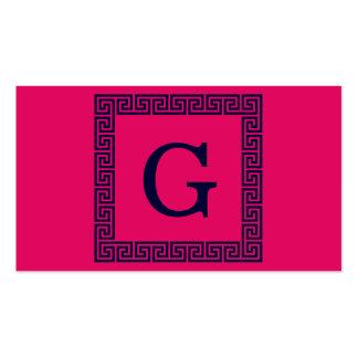 Raspberry, Navy Blue Greek Key #1 Framed Monogram Pack Of Standard Business Cards