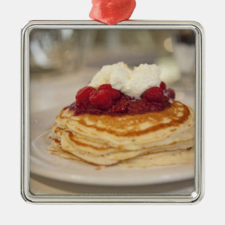 Raspberry pancakes Silver-Colored square decoration