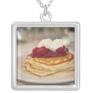Raspberry pancakes square pendant necklace