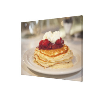 Raspberry pancakes stretched canvas print