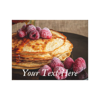 Raspberry Pancakes with Maple Syrup Canvas Print