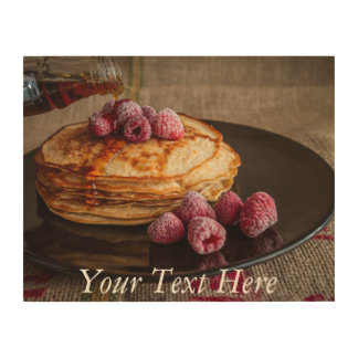 Raspberry Pancakes with Maple Syrup Wood Print
