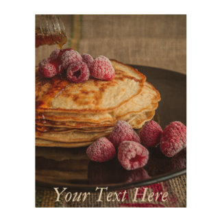 Raspberry Pancakes with Maple Syrup Wood Wall Decor