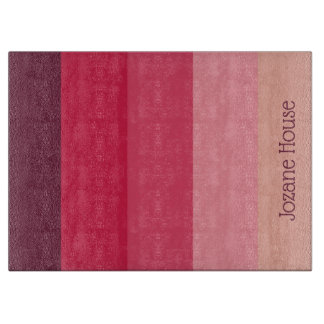 Raspberry Parade Palette Stripes Personalized Cutting Board