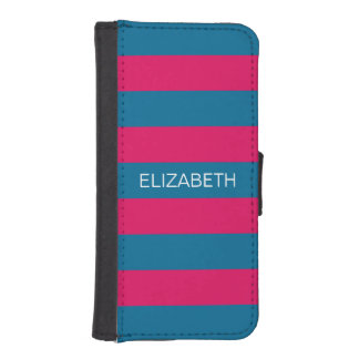 Raspberry Peacock Horiz Preppy Stripe #2 Monogram iPhone SE/5/5s Wallet Case