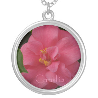 Raspberry Pink Camellia Round Pendant Necklace