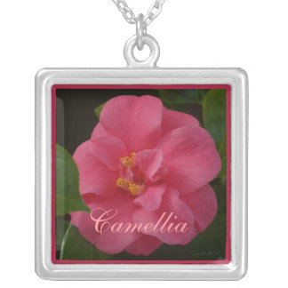 Raspberry Pink Camellia Square Pendant Necklace
