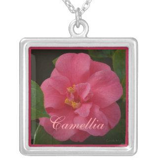 Raspberry Pink Camellia Square Pendant Necklace