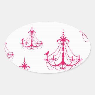 raspberry pink chandelier pattern on white oval sticker