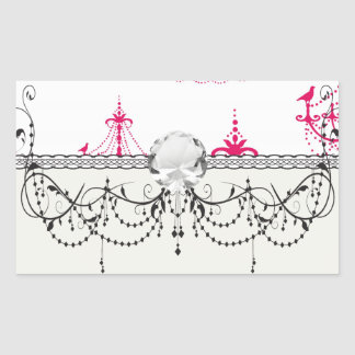raspberry pink chandelier pattern on white rectangle stickers
