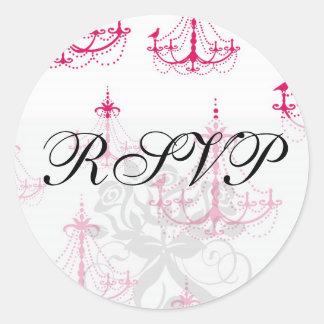 raspberry pink chandelier pattern on white round sticker