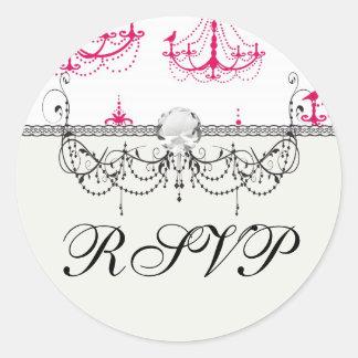 raspberry pink chandelier pattern on white sticker