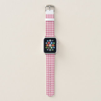 Raspberry Pink Gingham Check Pattern Apple Watch Band