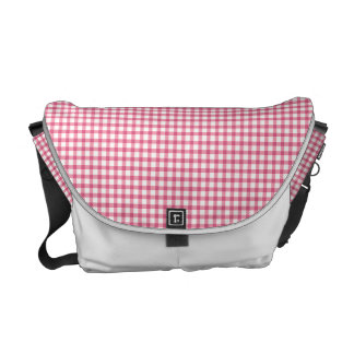 Raspberry Pink Gingham Check Pattern Commuter Bag