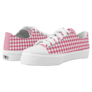 Raspberry Pink Gingham Check Pattern Low Tops