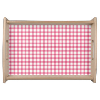 Raspberry Pink Gingham Check Pattern Serving Tray