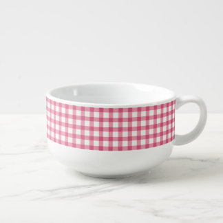 Raspberry Pink Gingham Check Pattern Soup Mug