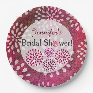 Raspberry Pink Mums Flower Blossom Bridal Shower Paper Plate